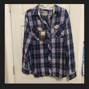 Blue Plaid Long Sleeve Cotton  Large Button-Down